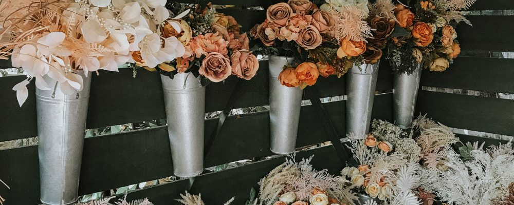 Assorted flowers at a market stall